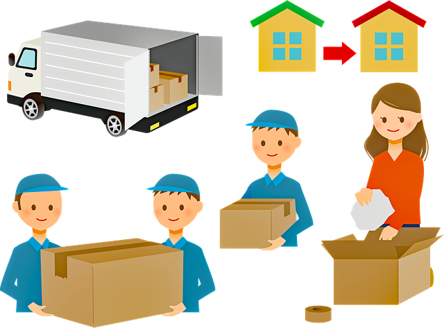 Movers, boxes and a moving truck
