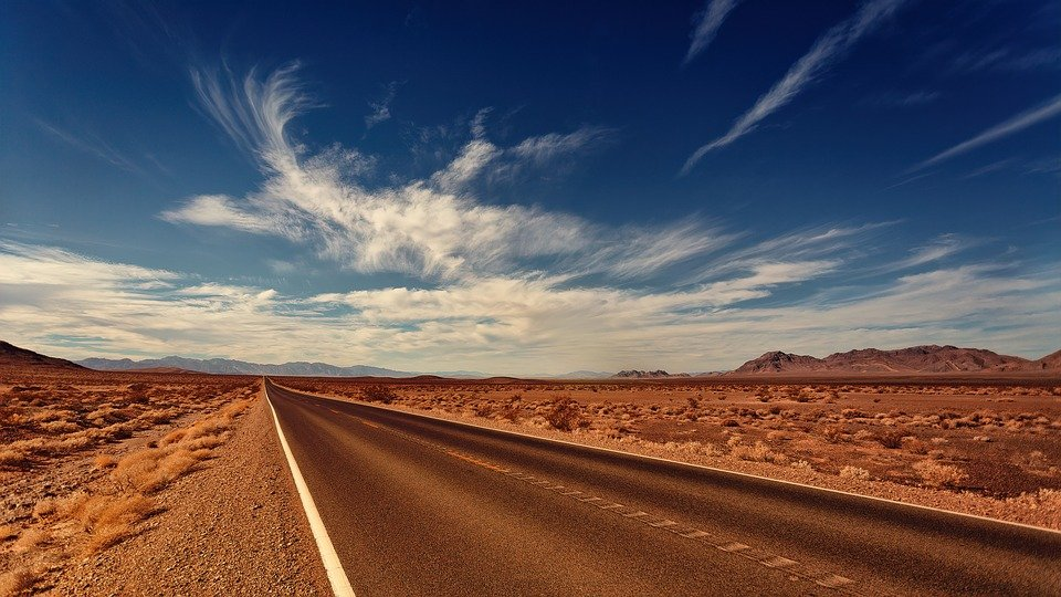 A road in the desert.