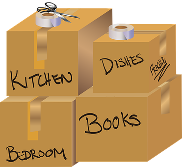 four boxes labeled kitchen, dishes, bedroom, books with scissors and tape on top of them