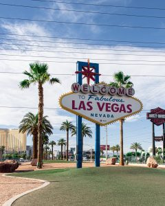 las vegas sign in front of a palm tree