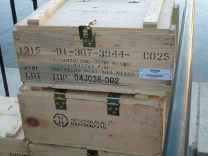 Wooden crates stacked on one another - that's why wooden crates are great for packing