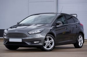 A grey Ford car. Driving a car is one of your options for getting around Las Vegas.