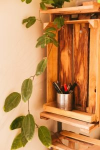A shelf made from a wooden crate