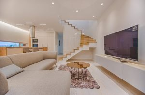 under stairs storage in a living room
