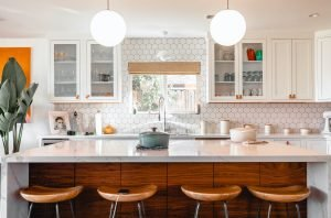 four brown stools in the kitchen