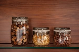 Three glass jars with food - do not pack them when you move
