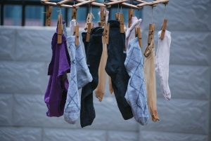 Socks hanging on a clothes line