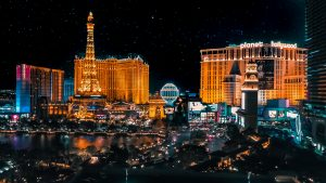 A view of the hotels and casinos on the Las Vegas Boulevard