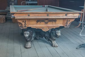 A really old pool table