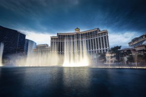 The Bellagio hotel and casino with its fountains that are a must visit if moving to Vegas with teenagers