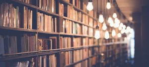 bookshelves filled with books with lightbulbs shinning in front of them
