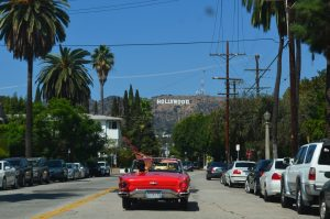 Red car on the move in Los Angeles.