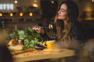 A girl dining in a restaurant