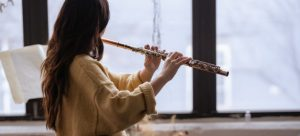 Playing a flute