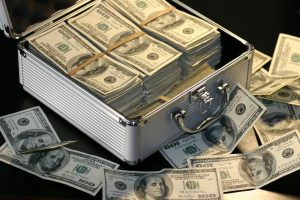 a case with dollars